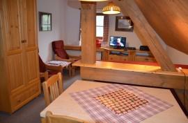 pohled z kuchyňky do obývacího prostoru
